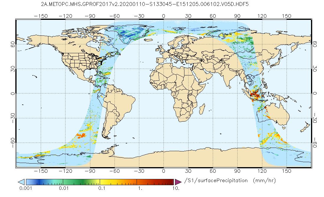 Surface Precipitation from GPM MHS on METOP-B GPROF (17 km x 17 km) (GPM_2AGPROFMETOPBMHS)