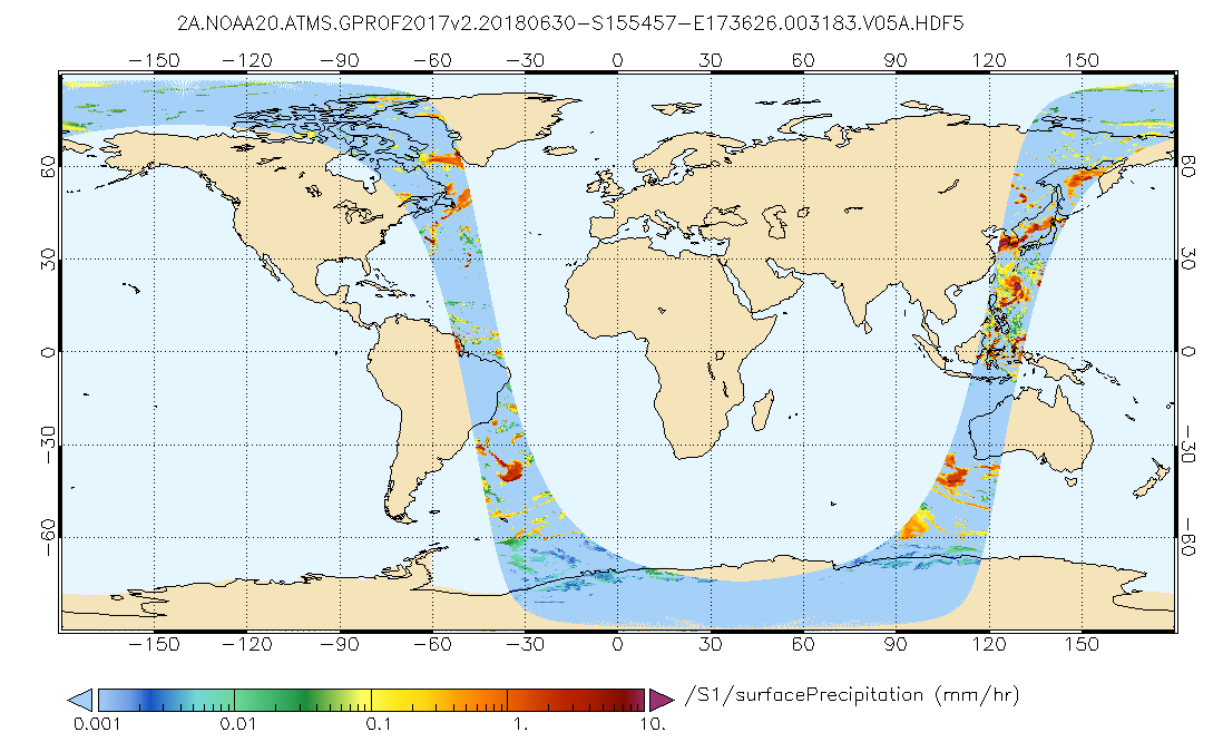 Surface Precipitation from GPM ATMS on NOAA-20 GPROF (17 km x 17 km) (GPM_2AGPROFNOAA20ATMS)