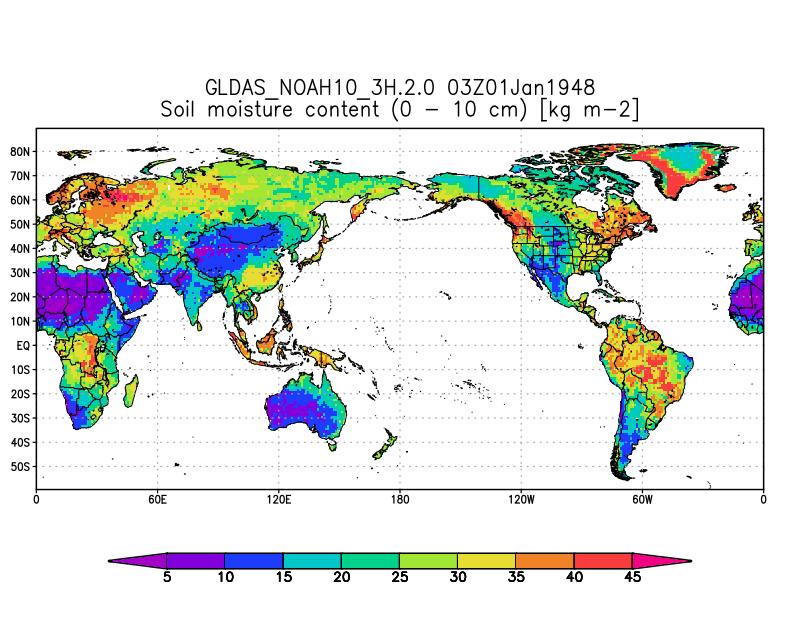 GLDAS-2.0 Noah 3-ourly 1.0 Degree 0-10 cm Soil Moisture [kg m-2] for 03Z Jan. 01, 1948.